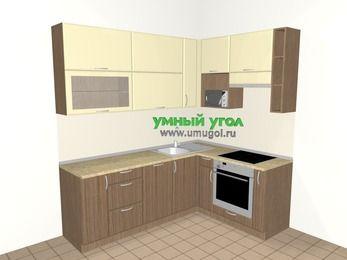 Угловая кухня МДФ матовый 6,2 м², 2200 на 1600 мм (зеркальный проект), Ваниль / Лиственница бронзовая, верхние модули 920 мм, посудомоечная машина, верхний витринный модуль под свч, встроенный духовой шкаф