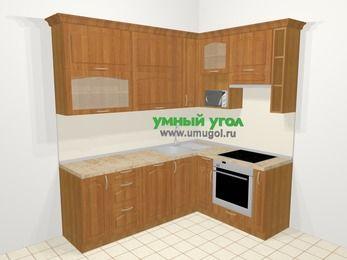 Угловая кухня МДФ матовый в классическом стиле 6,2 м², 2200 на 1600 мм (зеркальный проект), Вишня, верхние модули 920 мм, посудомоечная машина, верхний модуль под свч, встроенный духовой шкаф