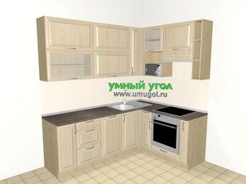 Угловая кухня из массива дерева 6,2 м², 2200 на 1600 мм (зеркальный проект), Светло-коричневые оттенки, верхние модули 920 мм, посудомоечная машина, верхний витринный модуль под свч, встроенный духовой шкаф