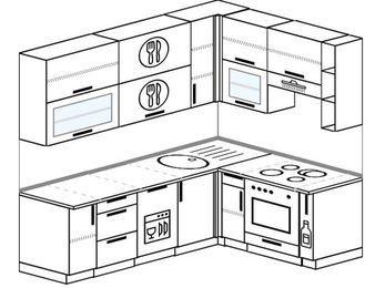 Угловая кухня 6,2 м² (2,2✕1,6 м), верхние модули 920 мм, посудомоечная машина, встроенный духовой шкаф
