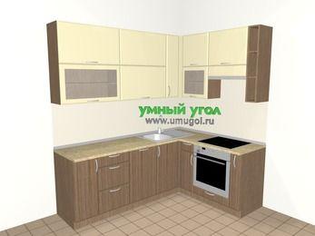 Угловая кухня МДФ матовый 6,2 м², 2200 на 1600 мм (зеркальный проект), Ваниль / Лиственница бронзовая, верхние модули 920 мм, посудомоечная машина, встроенный духовой шкаф