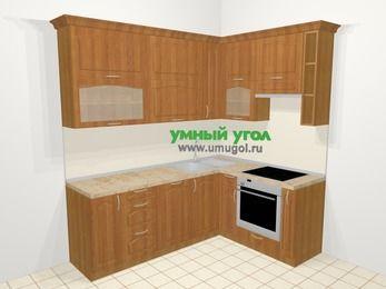 Угловая кухня МДФ матовый в классическом стиле 6,2 м², 2200 на 1600 мм (зеркальный проект), Вишня, верхние модули 920 мм, посудомоечная машина, встроенный духовой шкаф