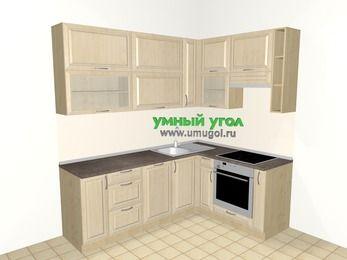 Угловая кухня из массива дерева 6,2 м², 2200 на 1600 мм (зеркальный проект), Светло-коричневые оттенки, верхние модули 920 мм, посудомоечная машина, встроенный духовой шкаф