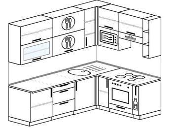 Угловая кухня 6,2 м² (2,2✕1,6 м), верхние модули 920 мм, верхний витринный модуль под свч, встроенный духовой шкаф