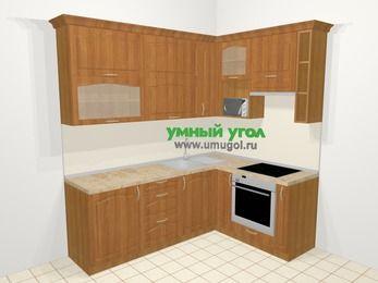 Угловая кухня МДФ матовый в классическом стиле 6,2 м², 2200 на 1600 мм (зеркальный проект), Вишня, верхние модули 920 мм, верхний модуль под свч, встроенный духовой шкаф