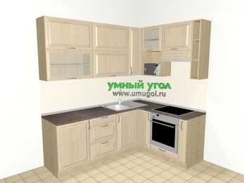 Угловая кухня из массива дерева 6,2 м², 2200 на 1600 мм (зеркальный проект), Светло-коричневые оттенки: верхние модули 920 мм, встроенный духовой шкаф, корзина-бутылочница, верхний модуль под свч