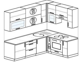 Угловая кухня 6,2 м² (2,2✕1,6 м), верхние модули 92 см, встроенный духовой шкаф