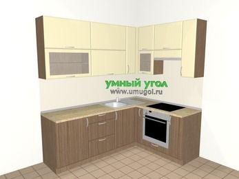 Угловая кухня МДФ матовый 6,2 м², 2200 на 1600 мм (зеркальный проект), Ваниль / Лиственница бронзовая, верхние модули 920 мм, встроенный духовой шкаф