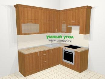 Угловая кухня МДФ матовый в классическом стиле 6,2 м², 2200 на 1600 мм (зеркальный проект), Вишня, верхние модули 920 мм, встроенный духовой шкаф
