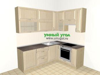 Угловая кухня из массива дерева 6,2 м², 2200 на 1600 мм (зеркальный проект), Светло-коричневые оттенки, верхние модули 920 мм, встроенный духовой шкаф