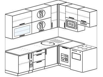 Угловая кухня 6,2 м² (2,2✕1,6 м), верхние модули 920 мм, посудомоечная машина, верхний модуль под свч, отдельно стоящая плита