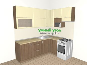 Угловая кухня МДФ матовый 6,2 м², 2200 на 1600 мм (зеркальный проект), Ваниль / Лиственница бронзовая, верхние модули 920 мм, посудомоечная машина, верхний витринный модуль под свч, отдельно стоящая плита