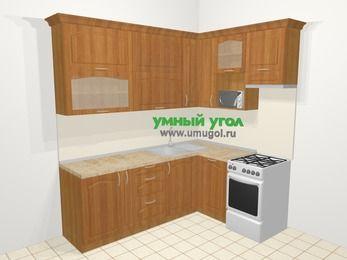Угловая кухня МДФ матовый в классическом стиле 6,2 м², 2200 на 1600 мм (зеркальный проект), Вишня, верхние модули 920 мм, посудомоечная машина, верхний модуль под свч, отдельно стоящая плита
