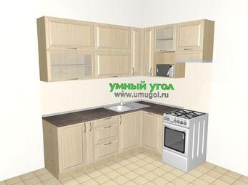 Угловая кухня из массива дерева 6,2 м², 2200 на 1600 мм (зеркальный проект), Светло-коричневые оттенки, верхние модули 920 мм, посудомоечная машина, верхний витринный модуль под свч, отдельно стоящая плита