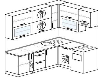 Угловая кухня 6,2 м² (2,2✕1,6 м), верхние модули 920 мм, посудомоечная машина, отдельно стоящая плита