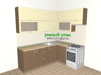 Угловая кухня МДФ матовый 6,2 м², 2200 на 1600 мм (зеркальный проект), Ваниль / Лиственница бронзовая, верхние модули 920 мм, посудомоечная машина, отдельно стоящая плита