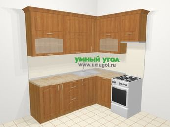Угловая кухня МДФ матовый в классическом стиле 6,2 м², 2200 на 1600 мм (зеркальный проект), Вишня, верхние модули 920 мм, посудомоечная машина, отдельно стоящая плита
