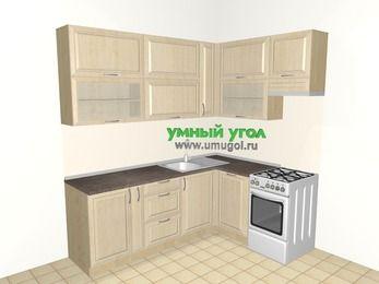 Угловая кухня из массива дерева 6,2 м², 2200 на 1600 мм (зеркальный проект), Светло-коричневые оттенки, верхние модули 920 мм, посудомоечная машина, отдельно стоящая плита