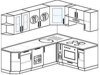 Планировка угловой кухни 6,2 м², 220 на 160 см (зеркальный проект): верхние модули 72 см, посудомоечная машина, корзина-бутылочница, встроенный духовой шкаф