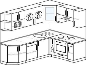 Планировка угловой кухни 6,2 м², 220 на 160 см (зеркальный проект): верхние модули 72 см, корзина-бутылочница, встроенный духовой шкаф, модуль под свч