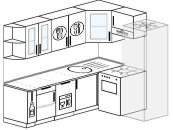 Планировка угловой кухни 6,2 м², 220 на 160 см (зеркальный проект): верхние модули 72 см, корзина-бутылочница, посудомоечная машина, отдельно стоящая плита, холодильник