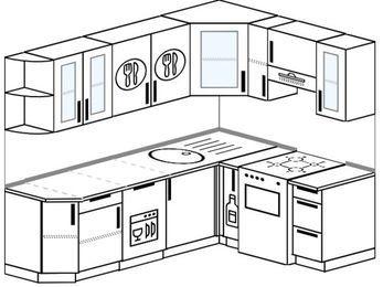 Планировка угловой кухни 6,2 м², 220 на 160 см (зеркальный проект): верхние модули 72 см, посудомоечная машина, корзина-бутылочница, отдельно стоящая плита