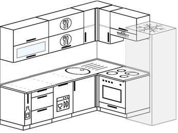 Планировка угловой кухни 6,2 м², 2200 на 1800 мм (зеркальный проект): верхние модули 720 мм, корзина-бутылочница, посудомоечная машина, встроенный духовой шкаф, холодильник