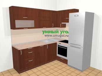 Угловая кухня МДФ матовый в классическом стиле 6,2 м², 220 на 180 см (зеркальный проект), Вишня темная, верхние модули 72 см, посудомоечная машина, встроенный духовой шкаф, холодильник
