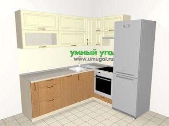 Угловая кухня из МДФ + ЛДСП 6,2 м², 2200 на 1800 мм (зеркальный проект), Ваниль / Ольха, верхние модули 720 мм, посудомоечная машина, встроенный духовой шкаф, холодильник
