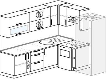 Угловая кухня 6,2 м² (2,2✕1,8 м), верхние модули 720 мм, холодильник, отдельно стоящая плита