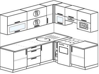 Планировка угловой кухни 6,2 м², 2200 на 1800 мм (зеркальный проект): верхние модули 720 мм, корзина-бутылочница, отдельно стоящая плита, верхний витринный модуль под свч