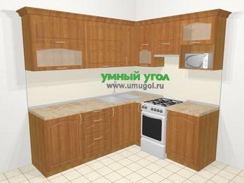 Угловая кухня МДФ матовый в классическом стиле 6,2 м², 2200 на 1800 мм (зеркальный проект), Вишня, верхние модули 720 мм, верхний модуль под свч, отдельно стоящая плита
