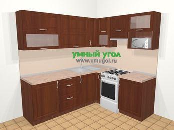 Угловая кухня МДФ матовый в классическом стиле 6,2 м², 220 на 180 см (зеркальный проект), Вишня темная, верхние модули 72 см, верхний модуль под свч, отдельно стоящая плита