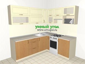 Угловая кухня из МДФ + ЛДСП 6,2 м², 2200 на 1800 мм (зеркальный проект), Ваниль / Ольха, верхние модули 720 мм, верхний витринный модуль под свч, отдельно стоящая плита
