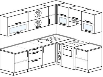 Угловая кухня 6,2 м² (2,2✕1,8 м), верхние модули 72 см, отдельно стоящая плита