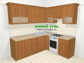 Угловая кухня МДФ матовый в классическом стиле 6,2 м², 2200 на 1800 мм (зеркальный проект), Вишня, верхние модули 720 мм, отдельно стоящая плита