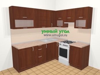 Угловая кухня МДФ матовый в классическом стиле 6,2 м², 220 на 180 см (зеркальный проект), Вишня темная, верхние модули 72 см, отдельно стоящая плита