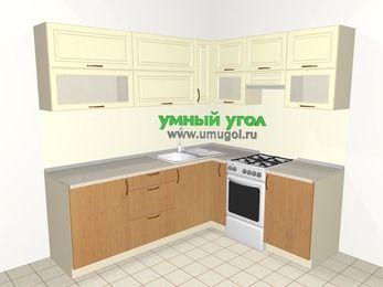 Угловая кухня из МДФ + ЛДСП 6,2 м², 2200 на 1800 мм (зеркальный проект), Ваниль / Ольха, верхние модули 720 мм, отдельно стоящая плита