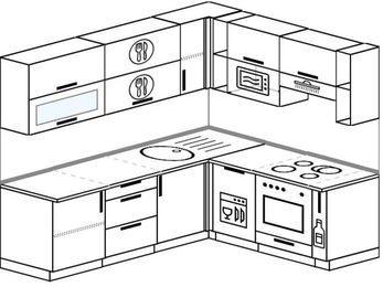 Угловая кухня 6,2 м² (2,2✕1,8 м), верхние модули 72 см, посудомоечная машина, верхний модуль под свч, встроенный духовой шкаф