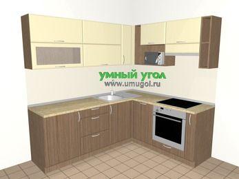 Угловая кухня МДФ матовый 6,2 м², 2200 на 1800 мм (зеркальный проект), Ваниль / Лиственница бронзовая, верхние модули 720 мм, посудомоечная машина, верхний модуль под свч, встроенный духовой шкаф