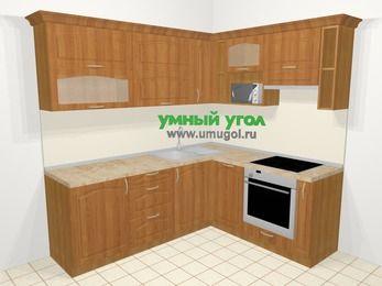 Угловая кухня МДФ матовый в классическом стиле 6,2 м², 2200 на 1800 мм (зеркальный проект), Вишня, верхние модули 720 мм, посудомоечная машина, верхний модуль под свч, встроенный духовой шкаф