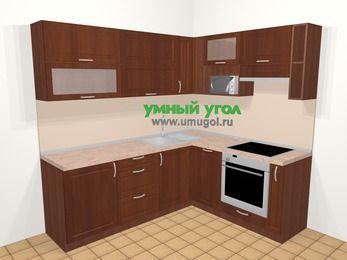 Угловая кухня МДФ матовый в классическом стиле 6,2 м², 220 на 180 см (зеркальный проект), Вишня темная, верхние модули 72 см, посудомоечная машина, верхний модуль под свч, встроенный духовой шкаф