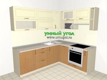 Угловая кухня из МДФ + ЛДСП 6,2 м², 2200 на 1800 мм (зеркальный проект), Ваниль / Ольха, верхние модули 720 мм, посудомоечная машина, верхний витринный модуль под свч, встроенный духовой шкаф