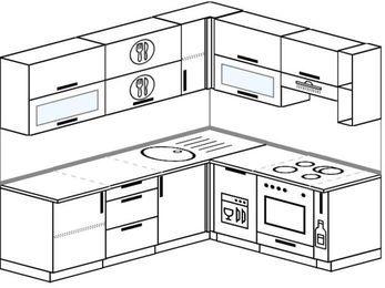 Планировка угловой кухни 6,2 м², 220 на 180 см (зеркальный проект): верхние модули 72 см, посудомоечная машина, встроенный духовой шкаф, корзина-бутылочница