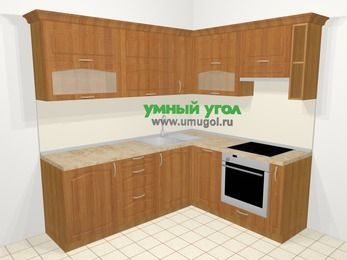 Угловая кухня МДФ матовый в классическом стиле 6,2 м², 2200 на 1800 мм (зеркальный проект), Вишня, верхние модули 720 мм, посудомоечная машина, встроенный духовой шкаф