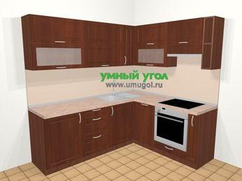 Угловая кухня МДФ матовый в классическом стиле 6,2 м², 220 на 180 см (зеркальный проект), Вишня темная, верхние модули 72 см, посудомоечная машина, встроенный духовой шкаф