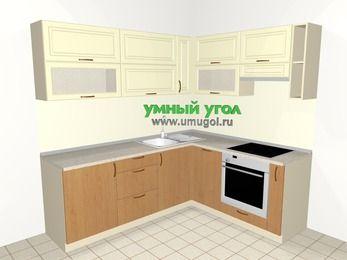 Угловая кухня из МДФ + ЛДСП 6,2 м², 2200 на 1800 мм (зеркальный проект), Ваниль / Ольха, верхние модули 720 мм, посудомоечная машина, встроенный духовой шкаф