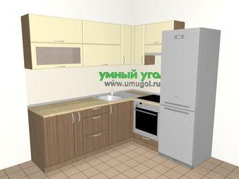Угловая кухня МДФ матовый 6,2 м², 2200 на 1800 мм (зеркальный проект), Ваниль / Лиственница бронзовая, верхние модули 720 мм, встроенный духовой шкаф, холодильник