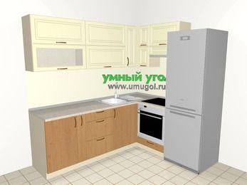 Угловая кухня из МДФ + ЛДСП 6,2 м², 2200 на 1800 мм (зеркальный проект), Ваниль / Ольха, верхние модули 720 мм, встроенный духовой шкаф, холодильник