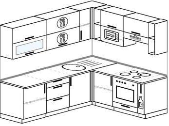 Планировка угловой кухни 6,2 м², 2200 на 1800 мм (зеркальный проект): верхние модули 720 мм, встроенный духовой шкаф, корзина-бутылочница, верхний витринный модуль под свч